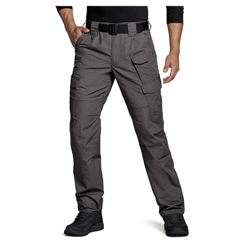 Man wears light grey CQR Tactical Pants
