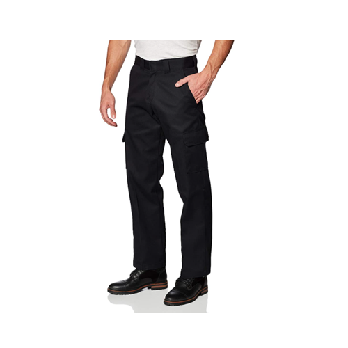 Man wears black Dickies Relaxed Straight Fit Cargo Work Pants