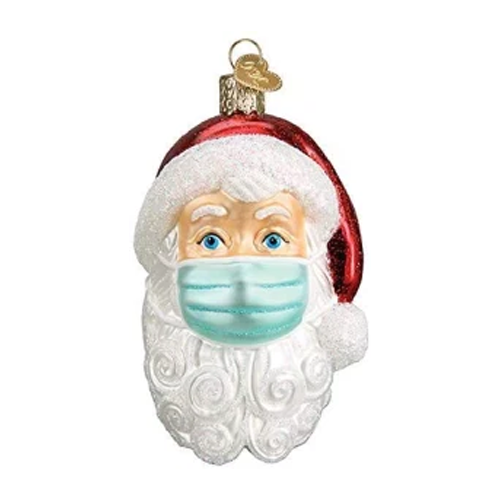 old world christmas santa with face mask