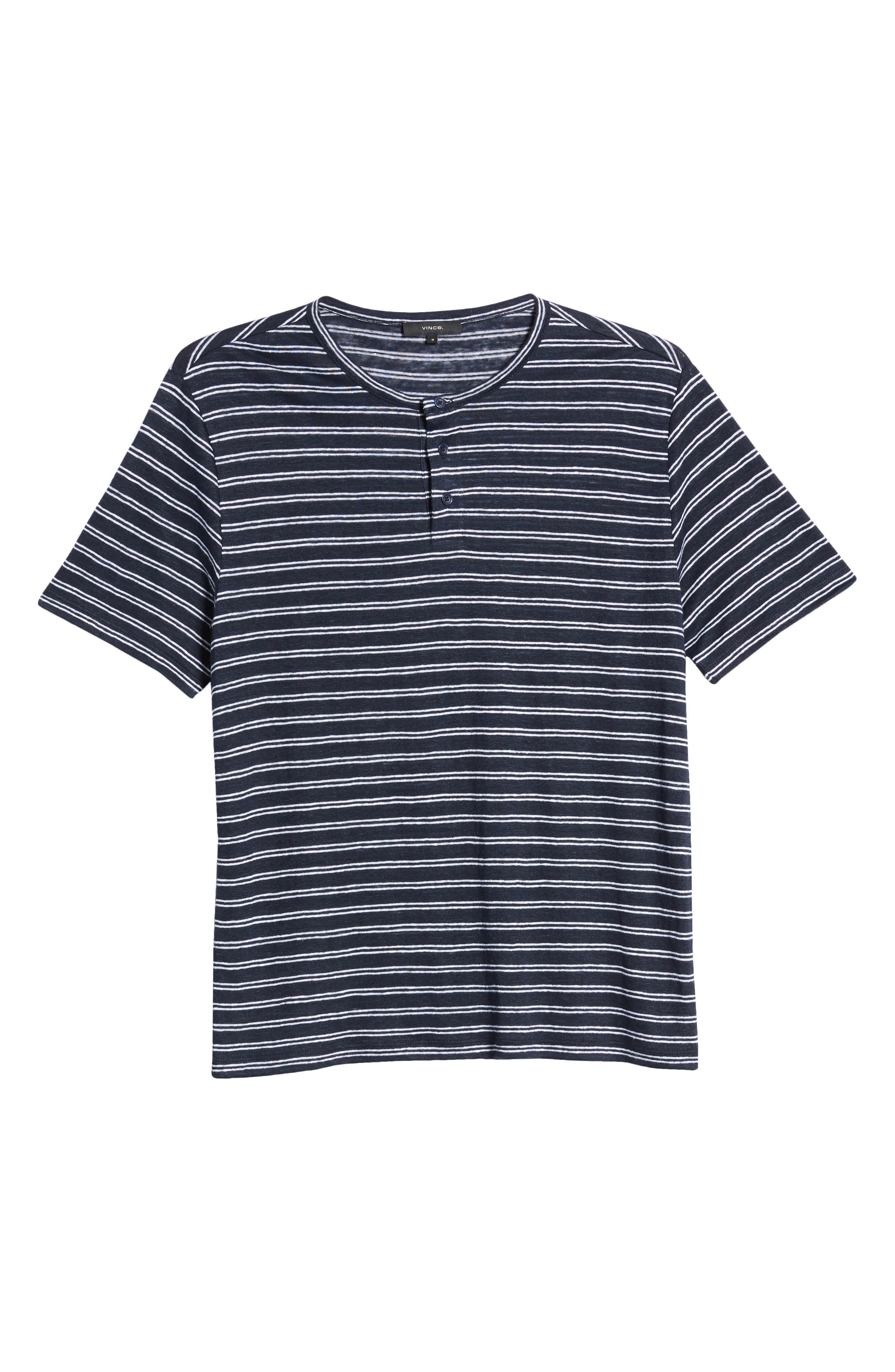 Vince Stripe Linen Henley Shirt