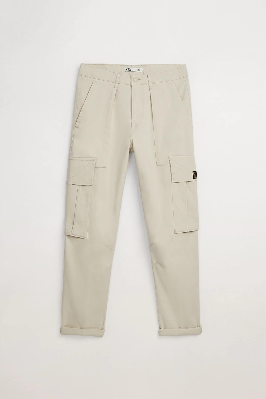 Zara Cropped Cargo Pants in stone