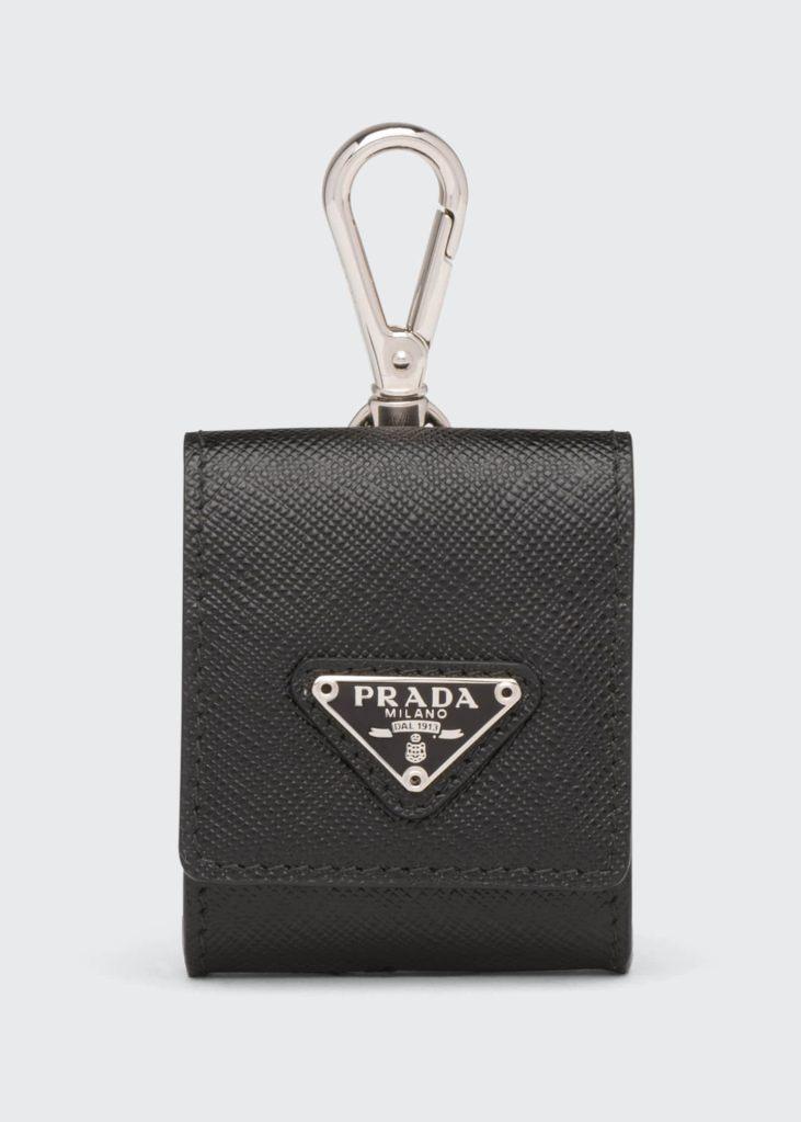 Prada Men's Saffiano Leather Key chain Airpod Case