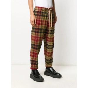 Uma Wang Treated Plaid Check Trousers