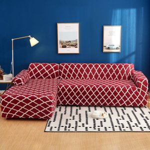 red geometric sofa slipcover, sectional slipcovers