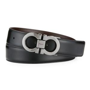Men's Designer Belt - Salvatore Ferragamo Large Double Gancio Reversible