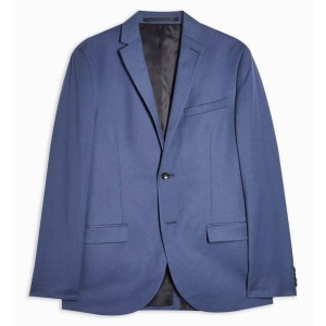 Topman Blue Skinny Fit Single Breasted Suit Blazer with Notch Lapels