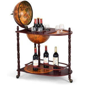 "Goplus 34"" Wood Globe Wine Bar Stand"