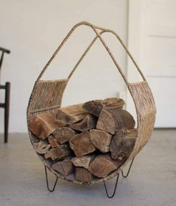 Kalalou Woven Rush and Metal Firewood Rack