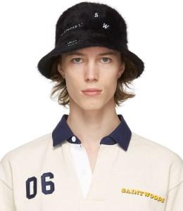 SAINTWOODS Black Fuzzy Bucket Hat
