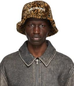 WE11DONE Brown Leopard Pearl Logo Bucket Hat