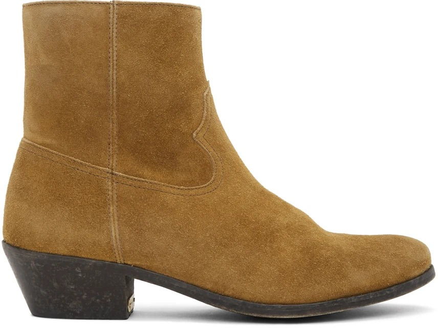 Golden Goose Brown Suede Cowboy Boots