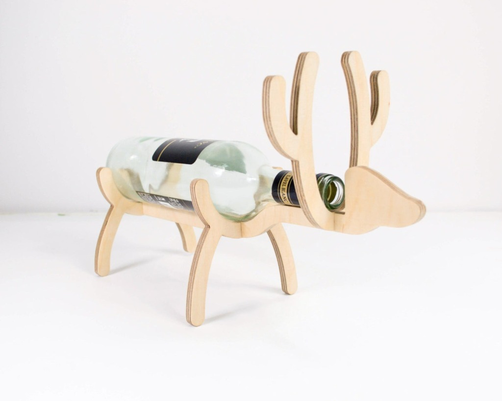 Wooden Reindeer Christmas Wine Holder by Promi Design