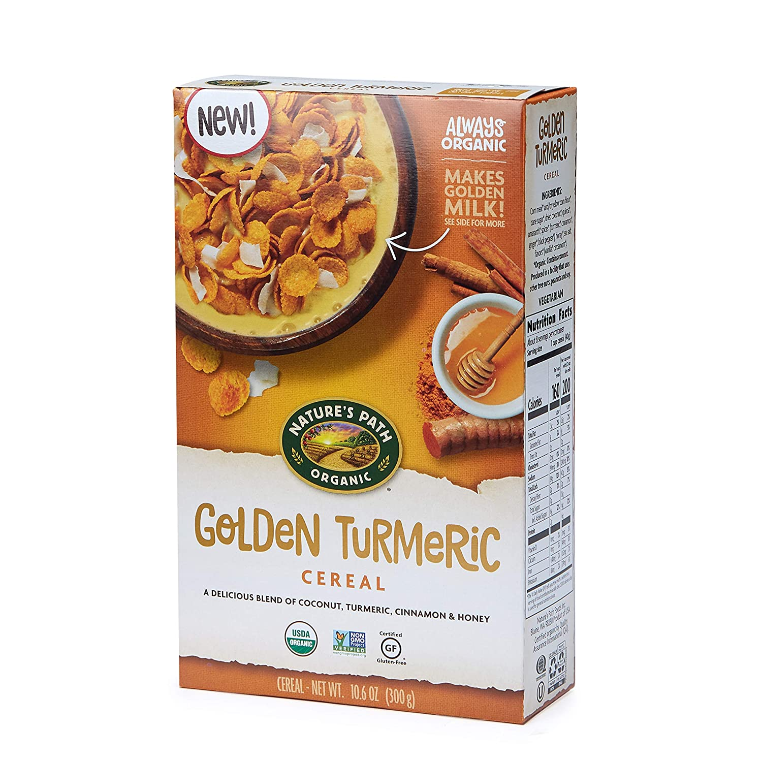 nature's path golden tumeric, healthy cereal