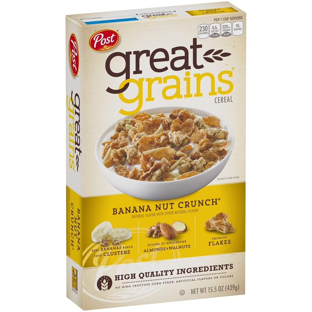 great grains banana nut crunch, healthy cereal brandss