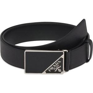 Prada Saffiano Logo Buckle Belt, men's designer belt
