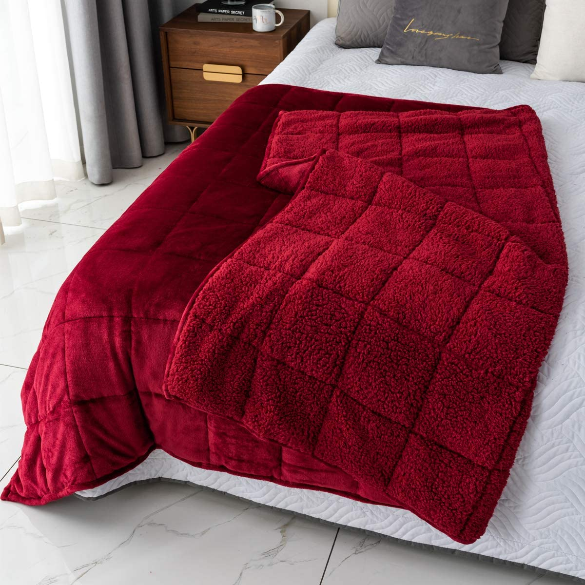 Mr. Sandman sherpa fleece weighted blanket, gifts for wife