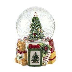 spode christmas tree with musical snow globe