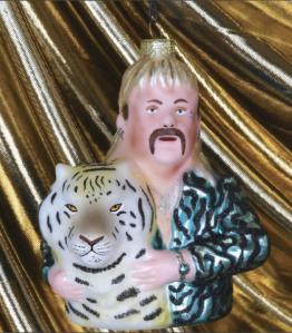 tinsel house tiger kind glass christmas ornament