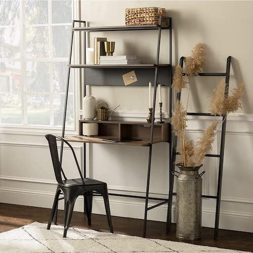 Walker Edison Freya Urban Industrial Ladder Desk with Metal Magnet Board