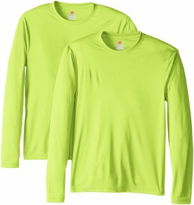 Hanes men's long sleeve shirt, exercising outdoors in the winter