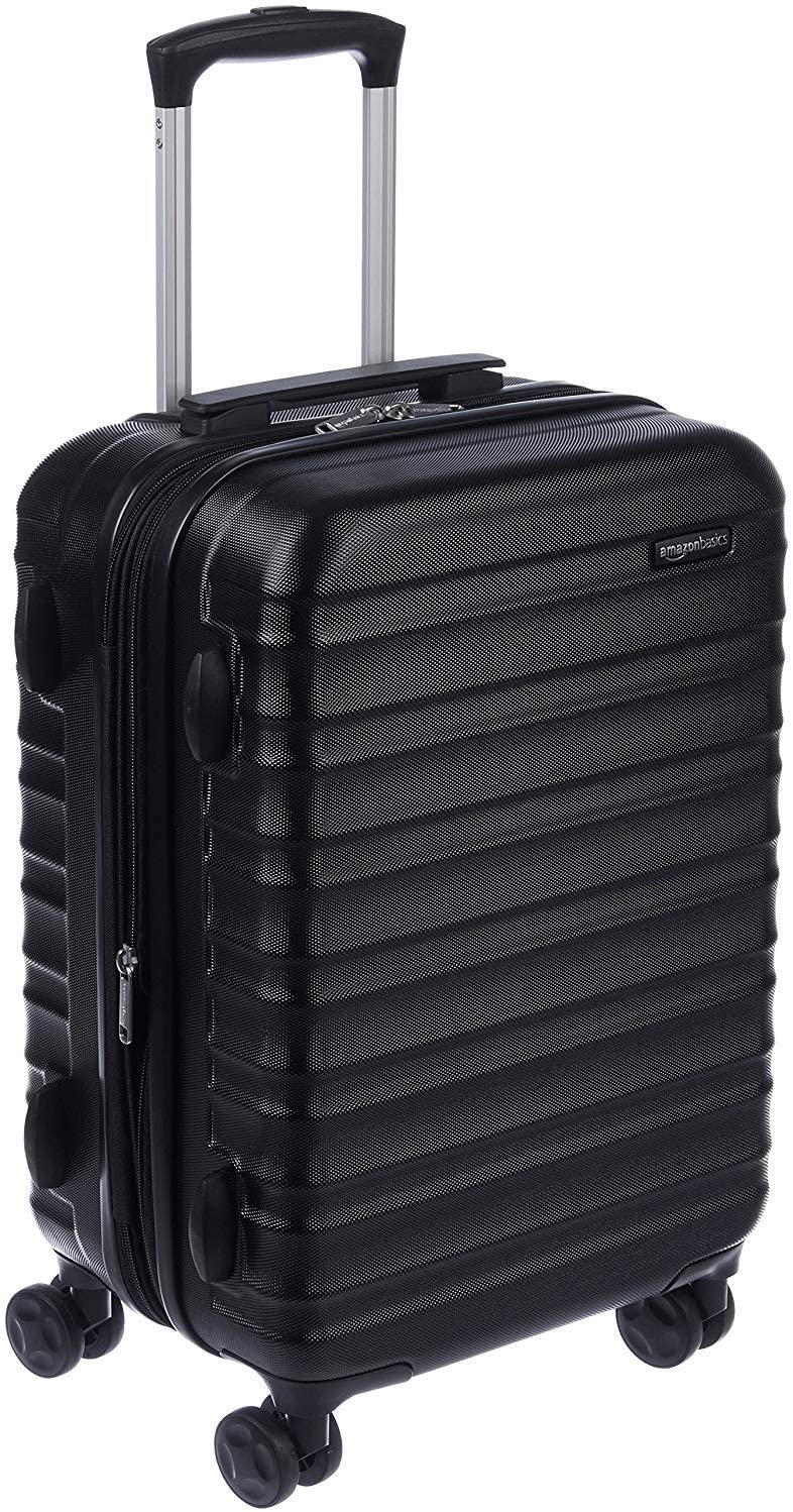 Black Amazon Basics Hardside Carry-On Spinner Rolling Suitcase, best rolling suitcases