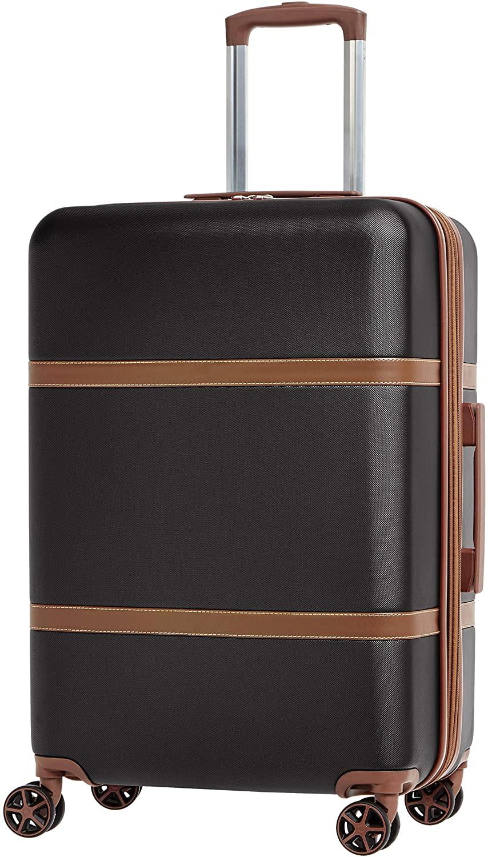 Black-brown Amazon Basics Vienna Spinner Rolling Suitcase
