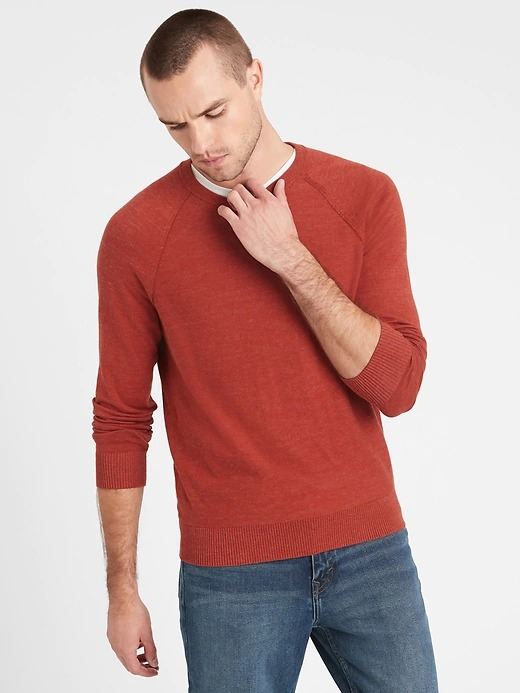 Banana-Republic-Organic-Cotton-Raglan-Sleeve-Sweater in red