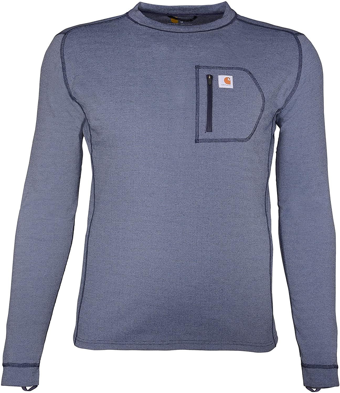 Blue Carhartt Men's Force Heavyweight Thermal Base Layer Shirt, best men's thermal