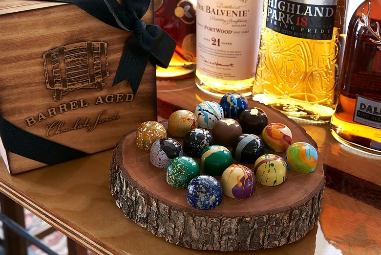 Barrel Aged Handcrafted Bonbons by Chocolate Secrets