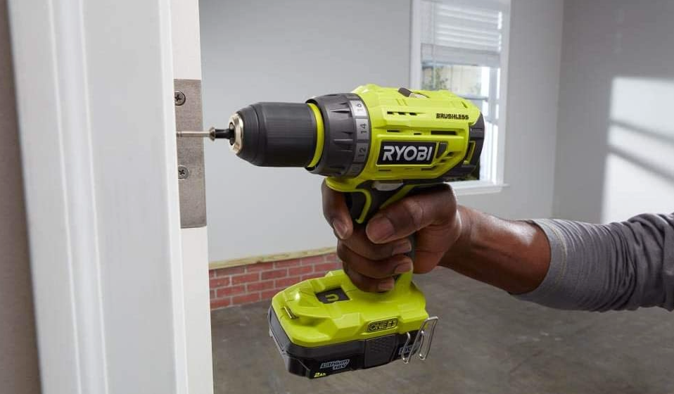 drilling screws into door with cordless