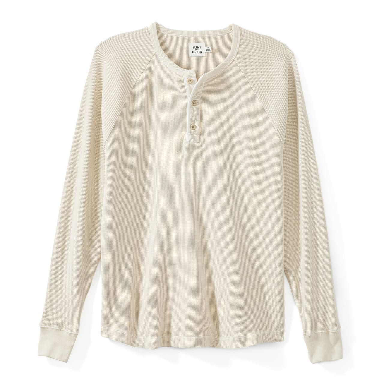 Flint and Tinder Raglan Waffle Henley shirt in oatmeal, best men's thermal