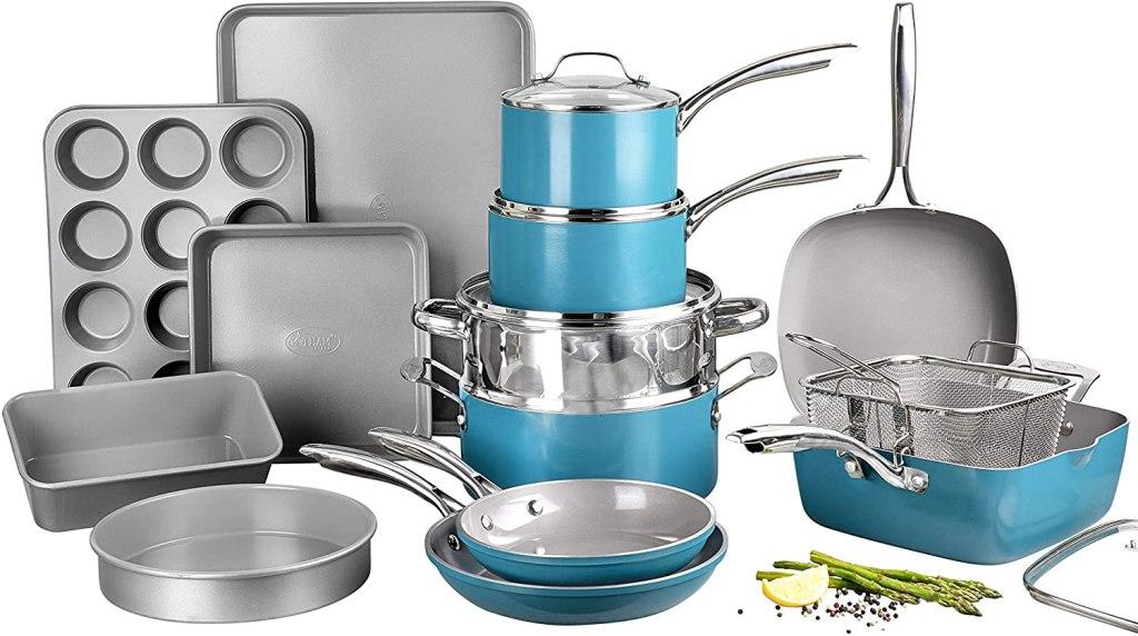 Gotham Steel Ocean Blue Cookware Set