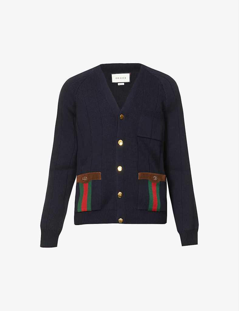 Gucci Stripe Trimmed Wool Blend Cardigan, best sweaters