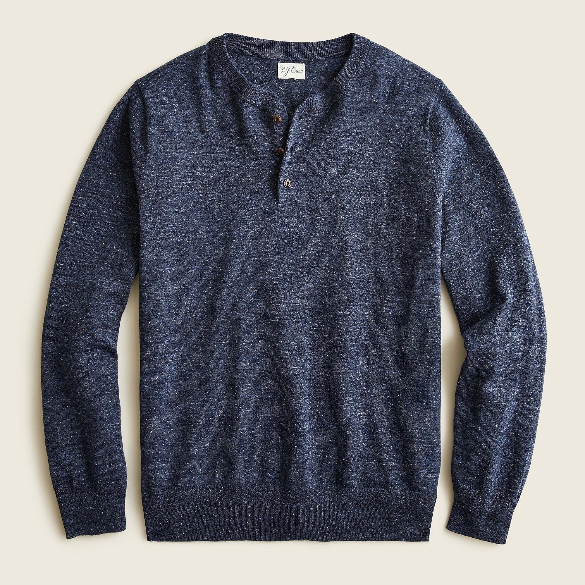 J.Crew Cotton Silk Donegal Tweed Henley Sweater, best mens sweater
