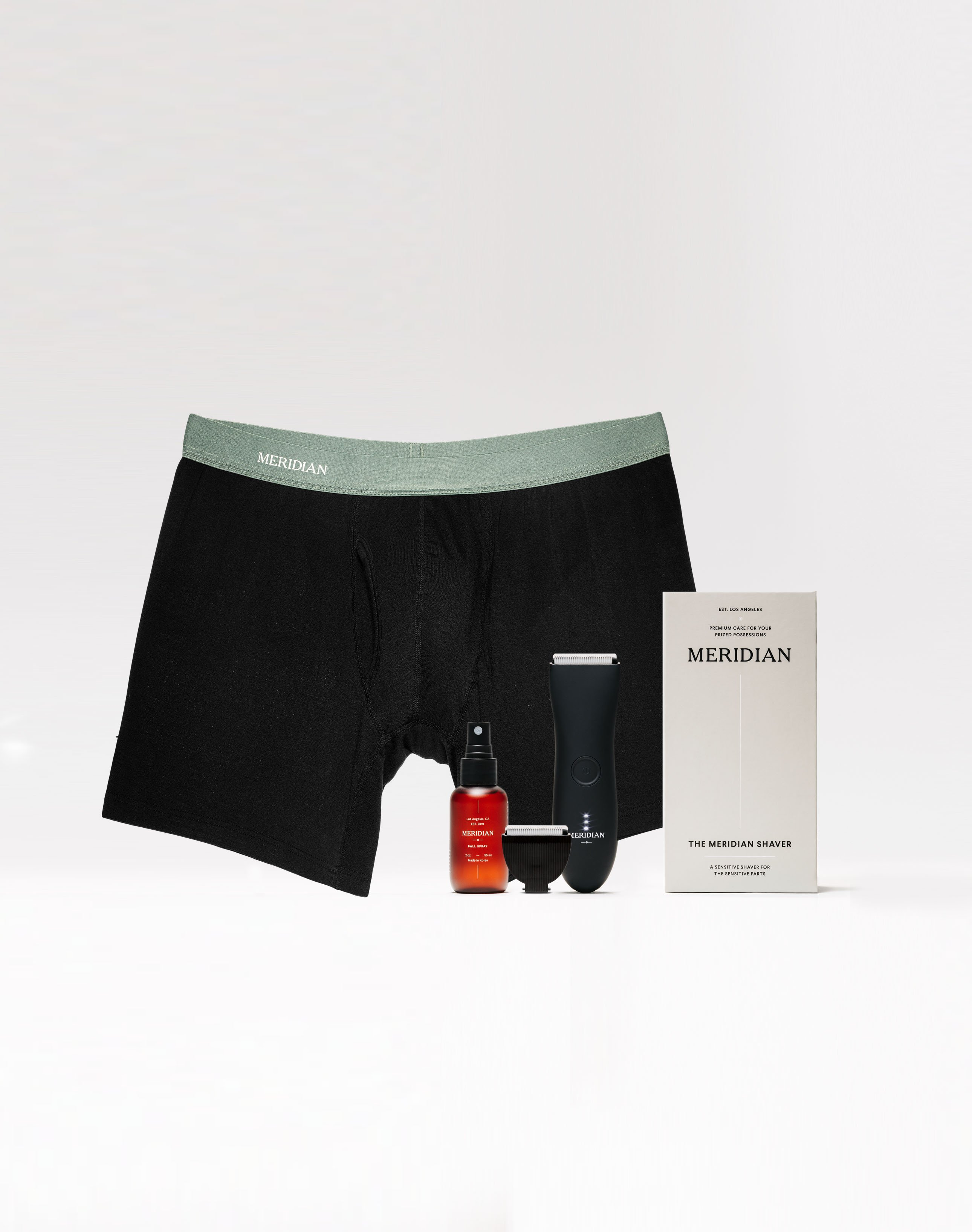 Meridian Grooming's Comfort Package, with underwear, body trimmer and ball spray, best body groomers
