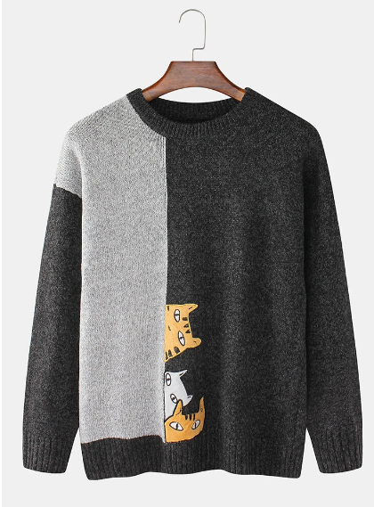 Newchic-Mens-Contrast-Knit-Cartoon-Cat-Pattern-Sweater