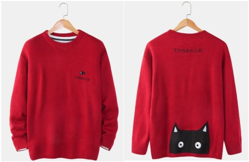 Newchic-fish-and-cat-sweater-front-and-back