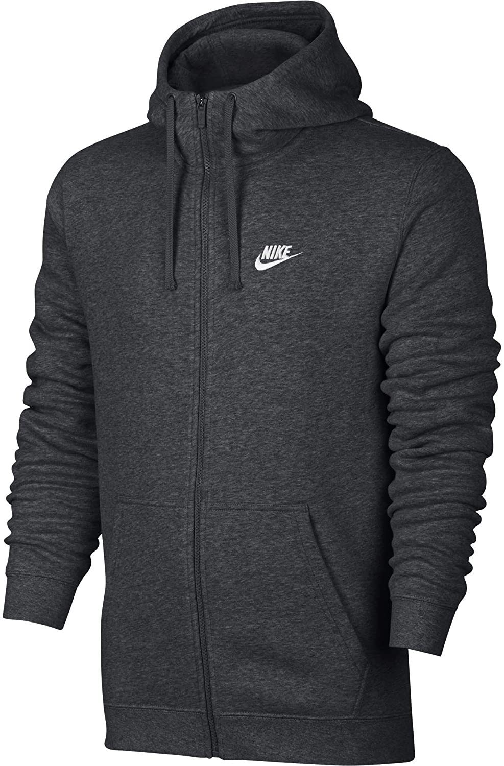 Nike grey charcoal sportwear club full zip up hoodie, best hoodie brands