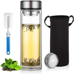 ONEISALL glass water bottle