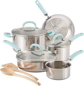 Rachael Ray 10-Piece Pots and Pans Stainless Steel Cookware Set
