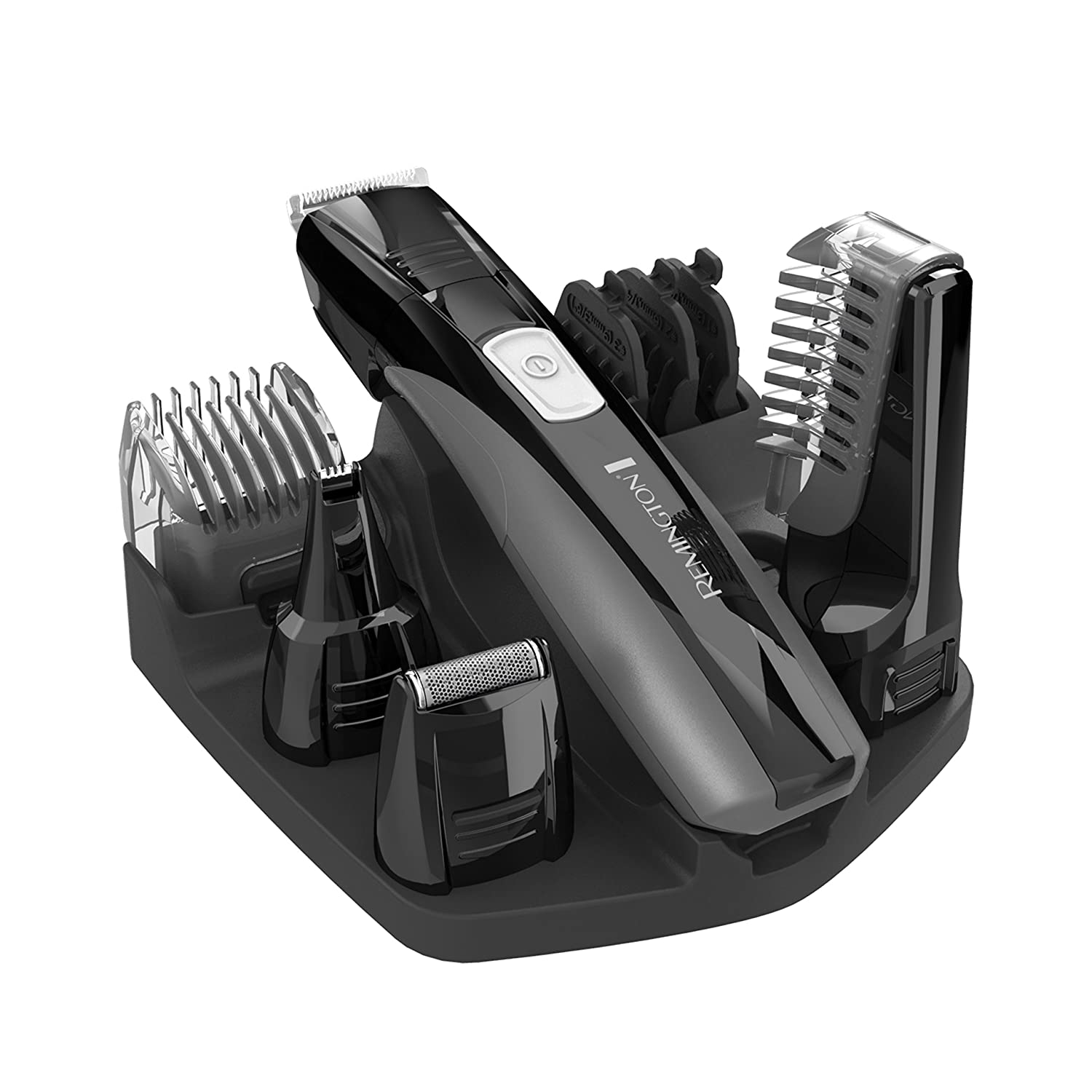 Remington PG525 Body Groomer on stand with 10 attachments