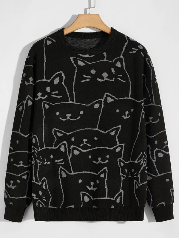 SHEIN-Men-Allover-Cat-Pattern-Sweater