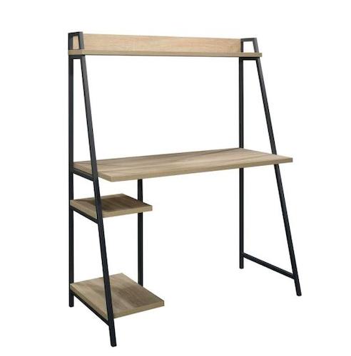 SAUDER Rectangular Charter Oak Ladder Desk with Hutch