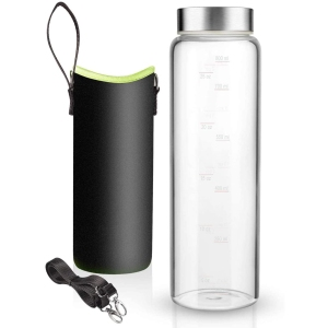 Sursip glass water bottle with nylon sleeve and strap, glass water bottle