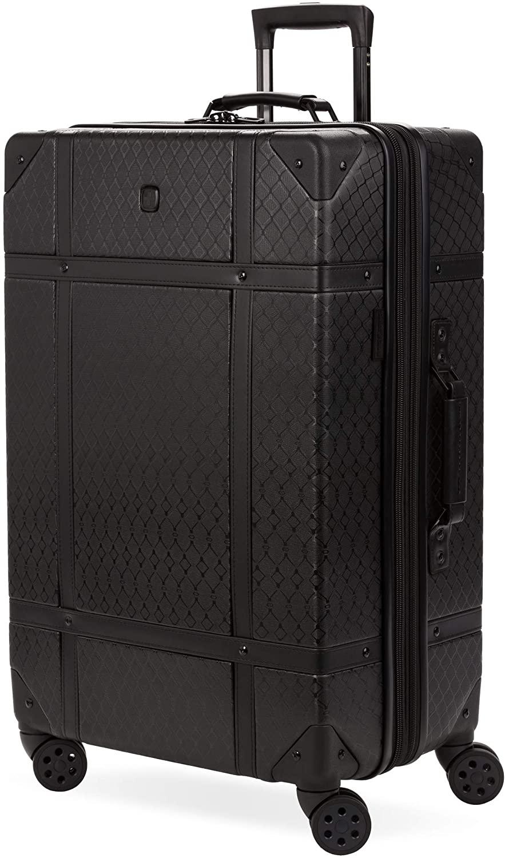 Black SwissGear Hardside Spinner Rolling Suitcase Trunk