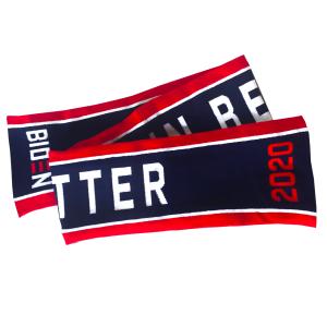 biden harris merch thom browne believe in better winter scarf