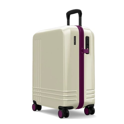 Roam The Jaunt XL Wheeled Carry-On Hard Case in white and red, best rolling suitcases