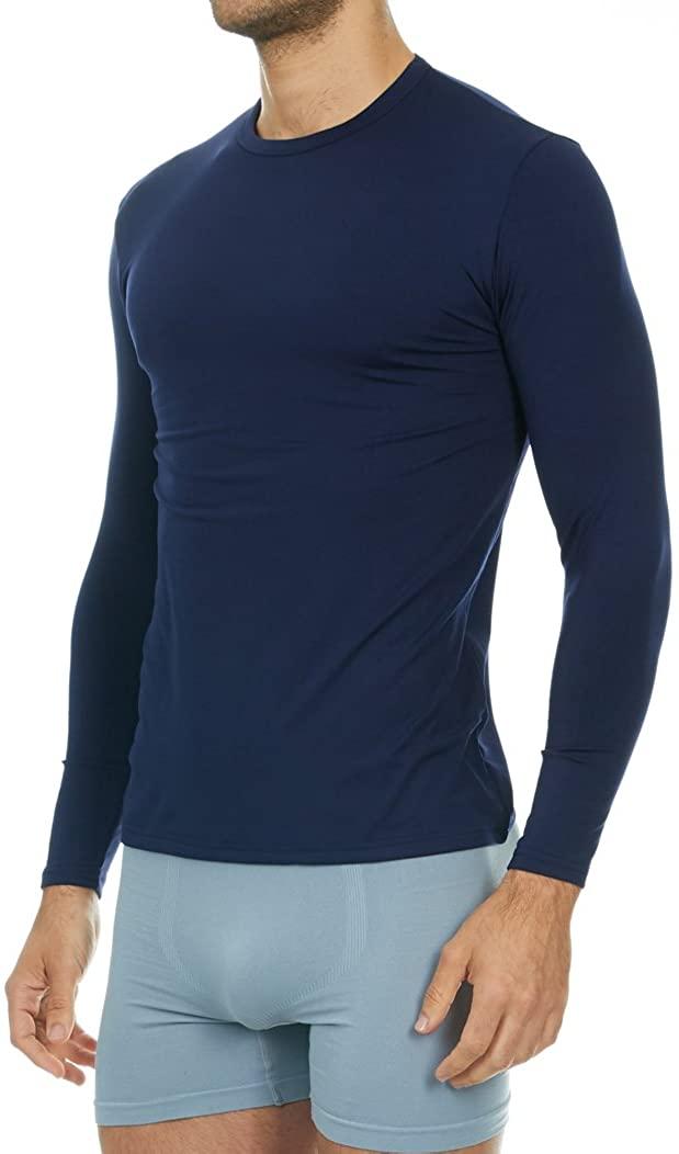 Man wears blue Thermajohn Thermal shirt compression base layer