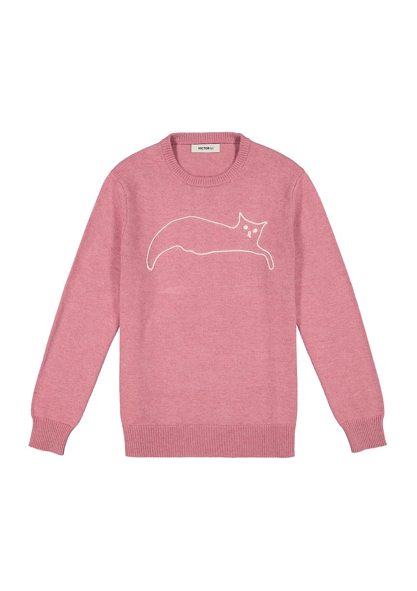 Victor-Li-Embroidered-Cat-Crewneck-Sweater