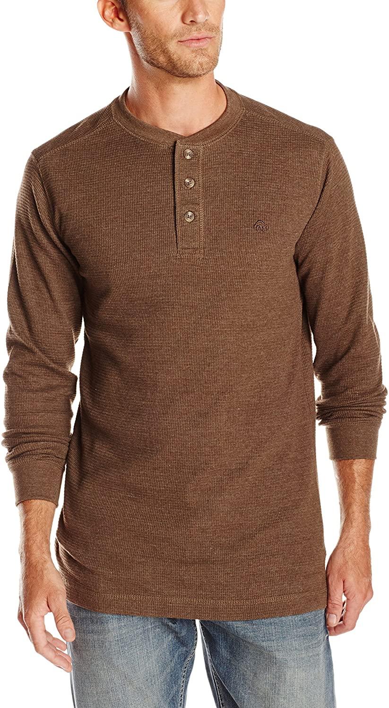 Man wears brown Wolverine Walden Thermal Henley Shirt, best men's thermal